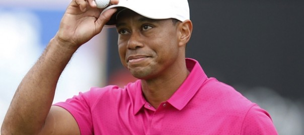 Tiger Woods...Tiger Woods acknowledges the crowd on the 16th hole during the first round of the Phoenix Open golf tournament, Thursday, Jan. 29, 2015, in Scottsdale, Ariz. (AP Photo/Rick Scuteri)